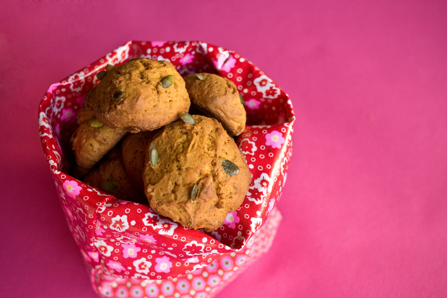Pumpkin cookies in a  goûter  bag stitched and designed by  Marie-Joelle .