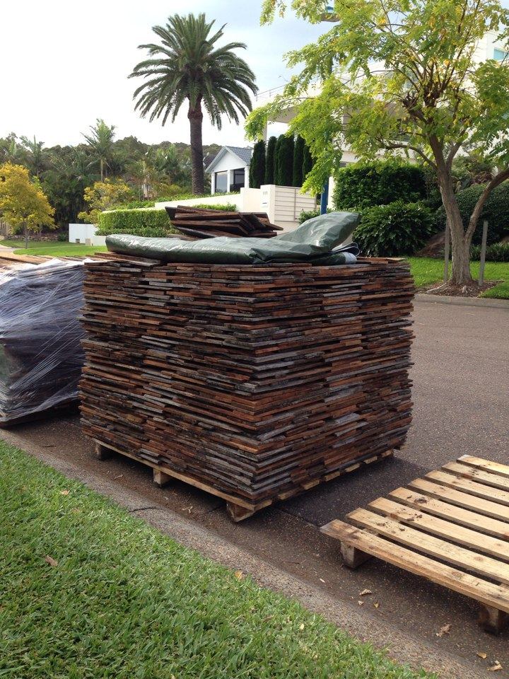 [Pallet of  collected   Timber tile  ]