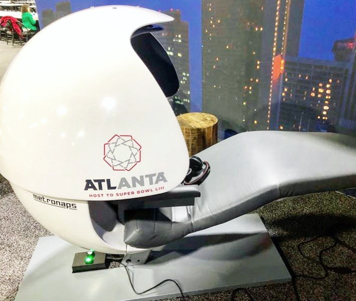 This week MetroNaps' EnergyPod is in Atlanta at the Super Bowl to give the media a break throughout the week leading up to the big game. We can be at expos, conferences and seminars, learn more  here .