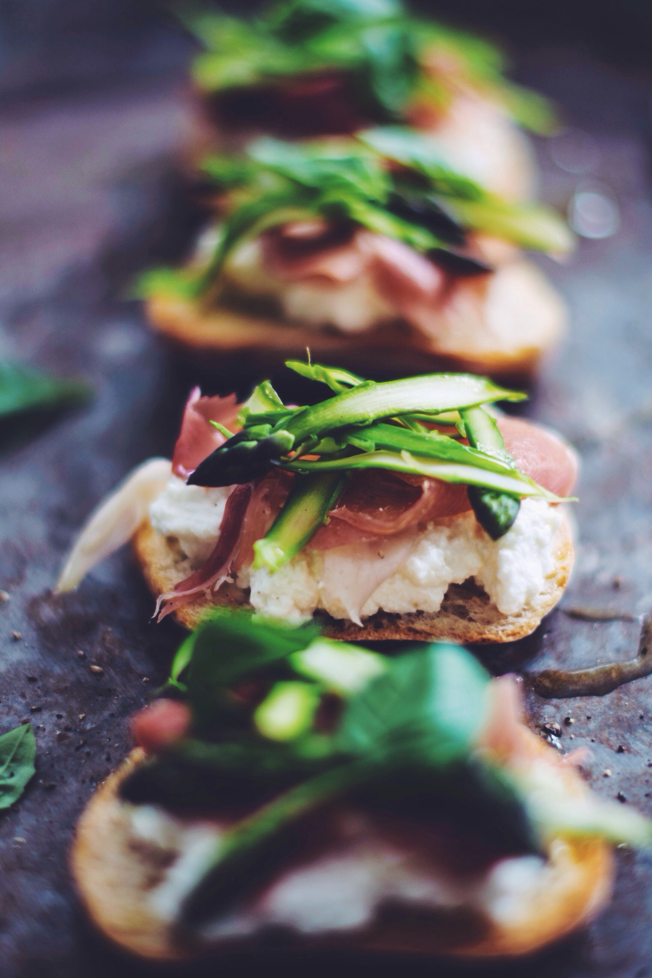 Ricotta, Asparagus + Parma Ham Costini | Thyme & Honey