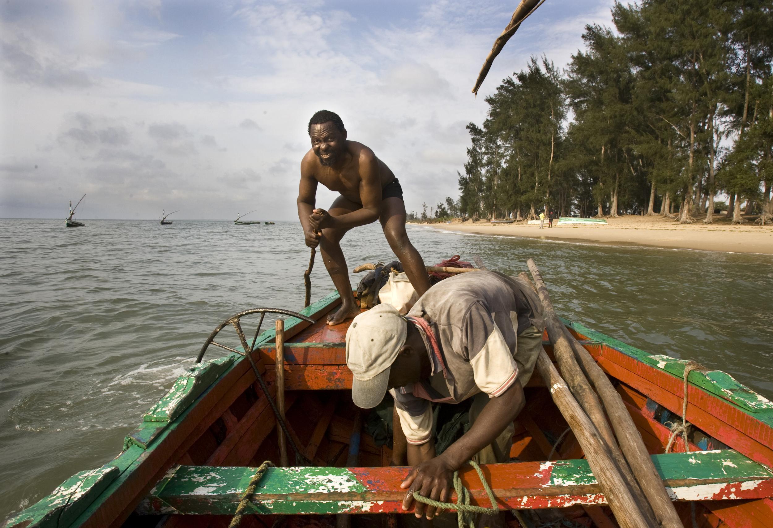 Fishermen travel between islands in Maputo, Mozambique.