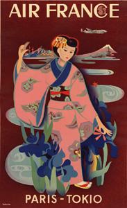 1952年公開 AIR FRANCE Paris-Tokyo 50 cm x 70 cm