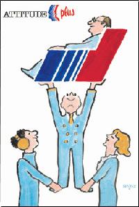 1986年公開 Air France 50 cm x 70 cm  日本でも知られているポスター画家 レイモン サヴィニャックの作品