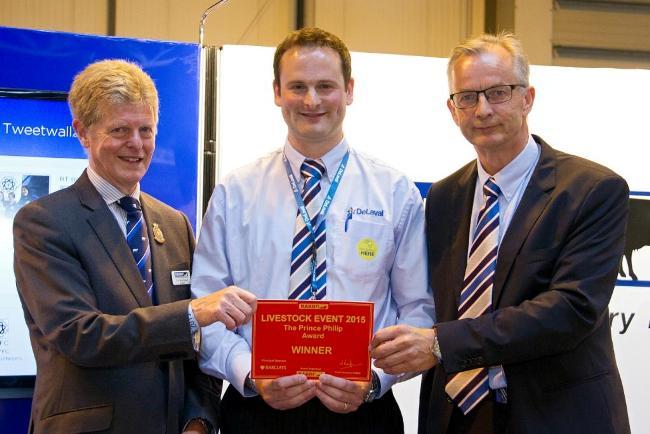 RABDF president, Prof David Leaver presents the award to DeLaval's Kieran FitzGerald and Knut Ree