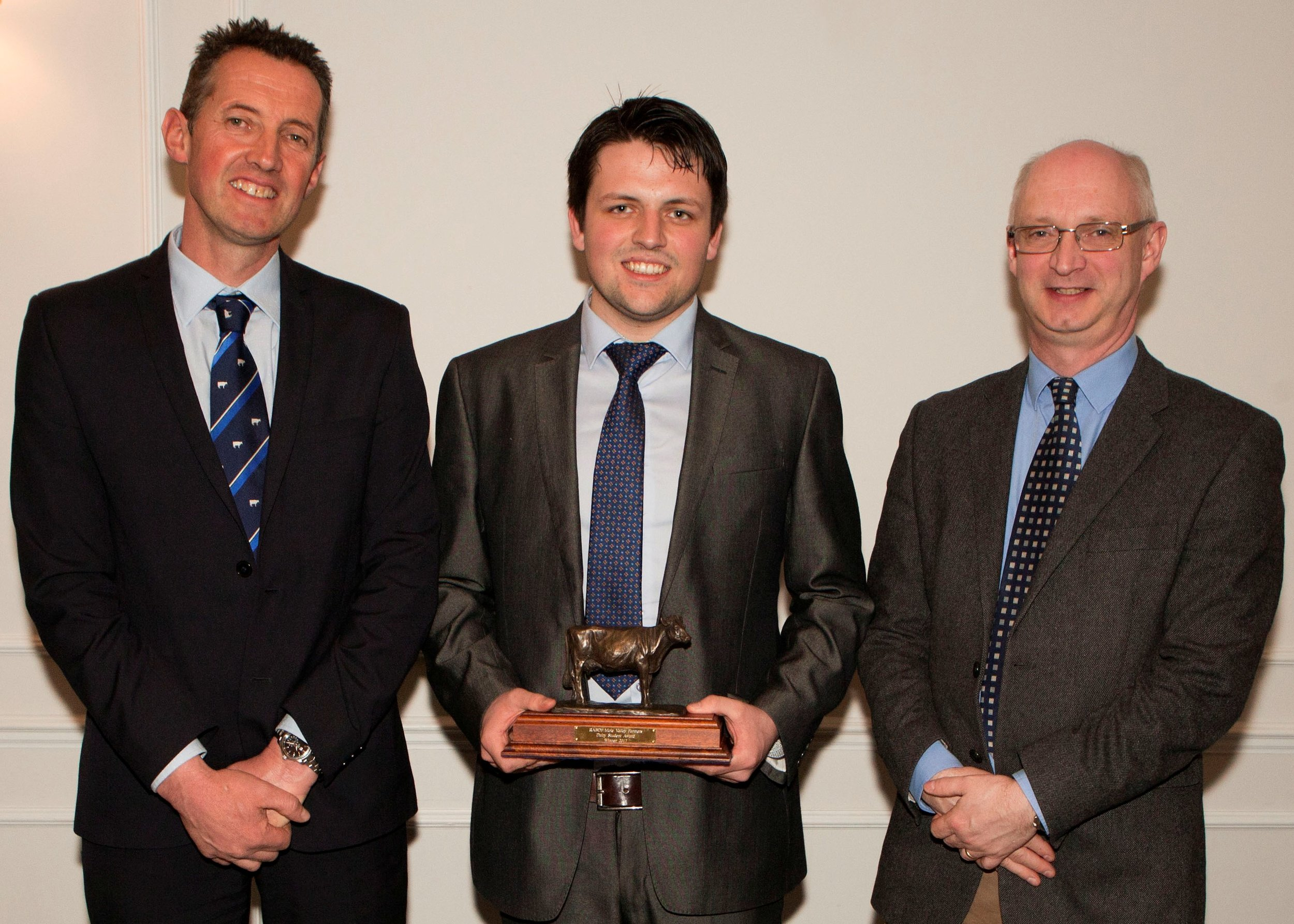 Mike King, RABDF chairman, Richard Beattie and Prof Liam Sinclair, Harper Adams University