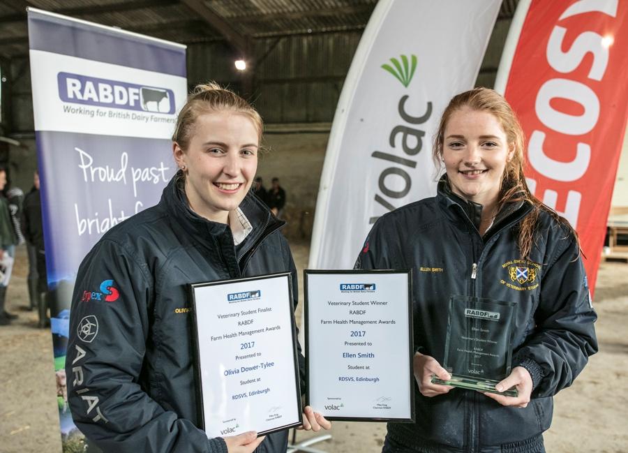 Veterinary award runner up Olivia Dower-Tylee and winner Ellen Smith, both from RDSVS, Edinburgh