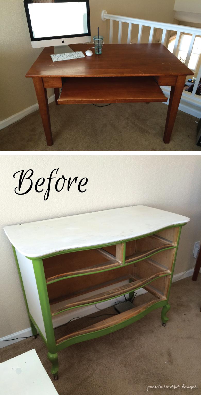 Pamela Smerker Designs Studio Makeover Deck and Dresser Before
