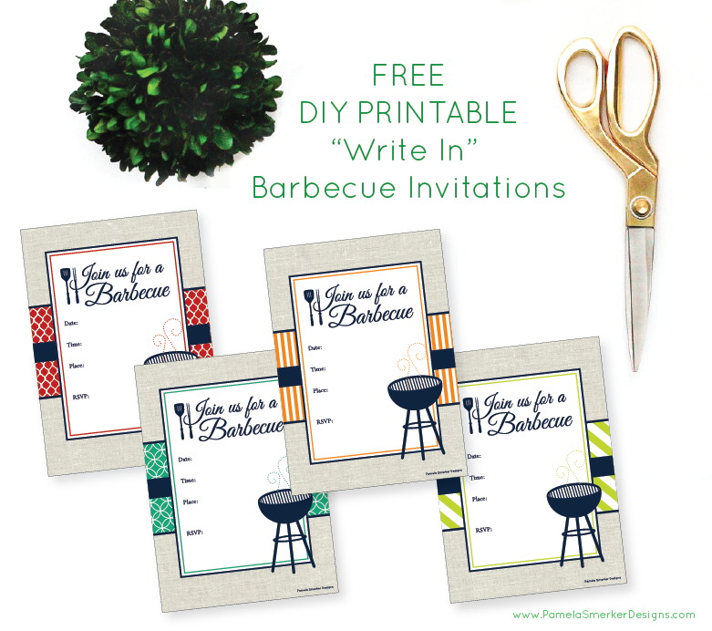 FREE DIY Printable Barbecue Invitations by Pamela Smerker Designs