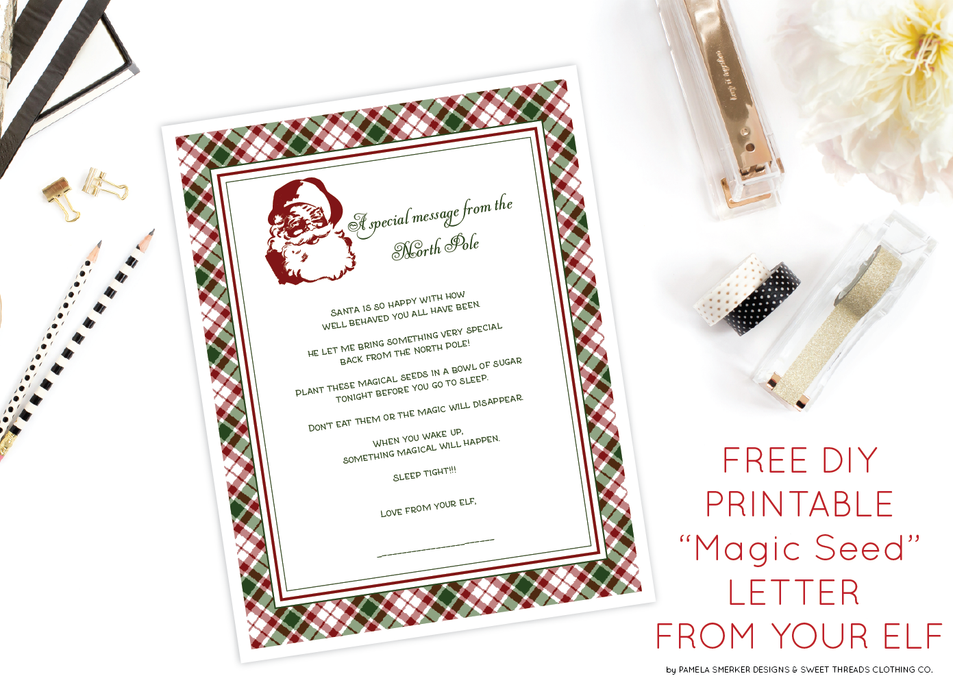 "FREE DIY Printable ""Magic Seed"" Letter From Your Elf On The Shelf by Pamela Smerker Designs"