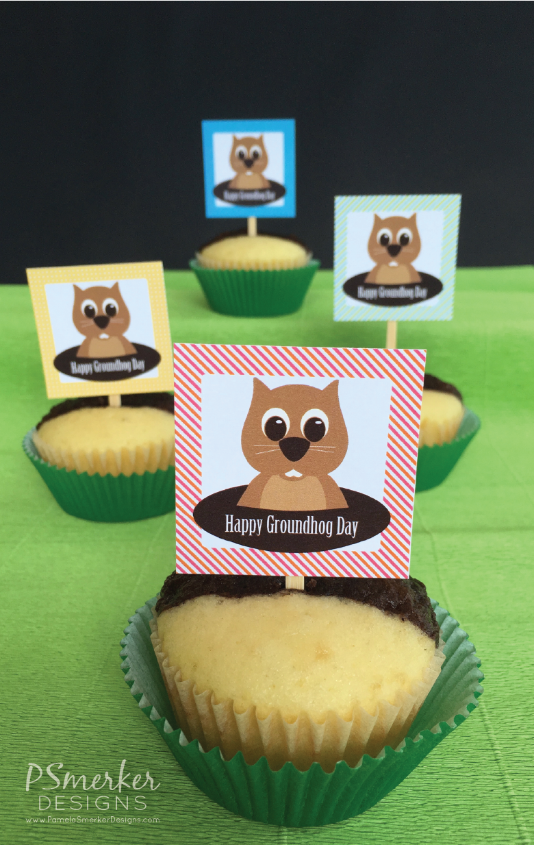 DIY Free Happy Groundhog Day Printable for Shadow Or No Shadow Cupcakes by Pamela Smerker Designs