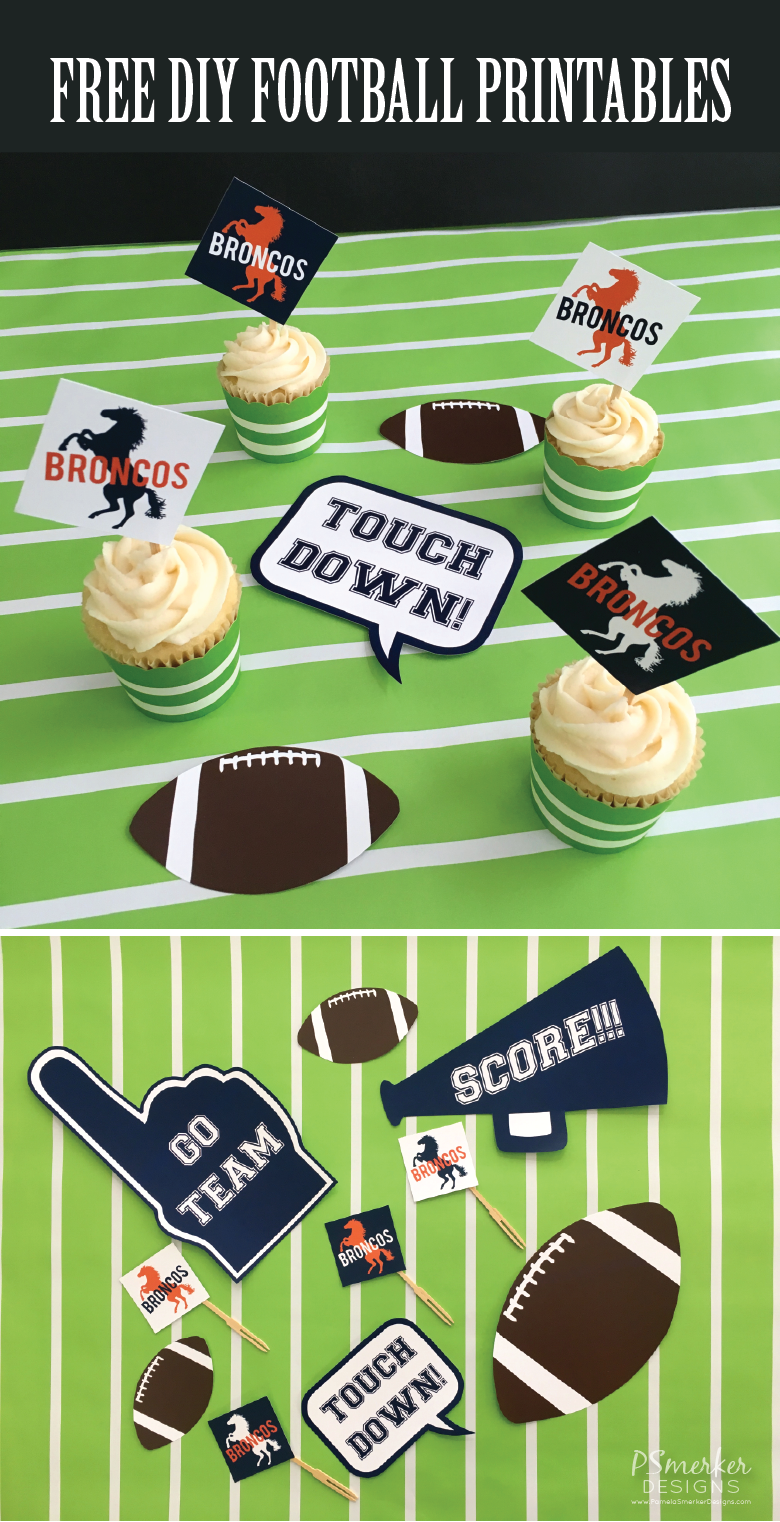 DIY FREE Printable Football Cupcake Toppers/Tags and Flags