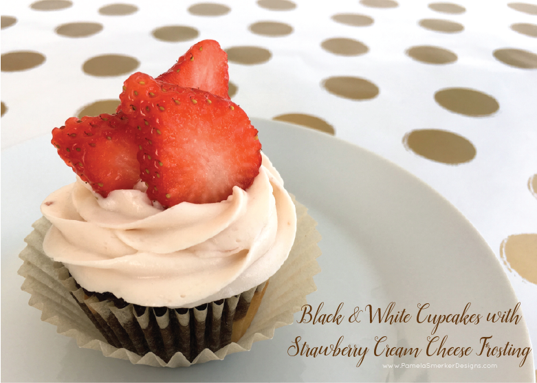Black and White Cupcakes with Strawberry Cream Cheese Frosting Recipe by Pamela Smerker Designs