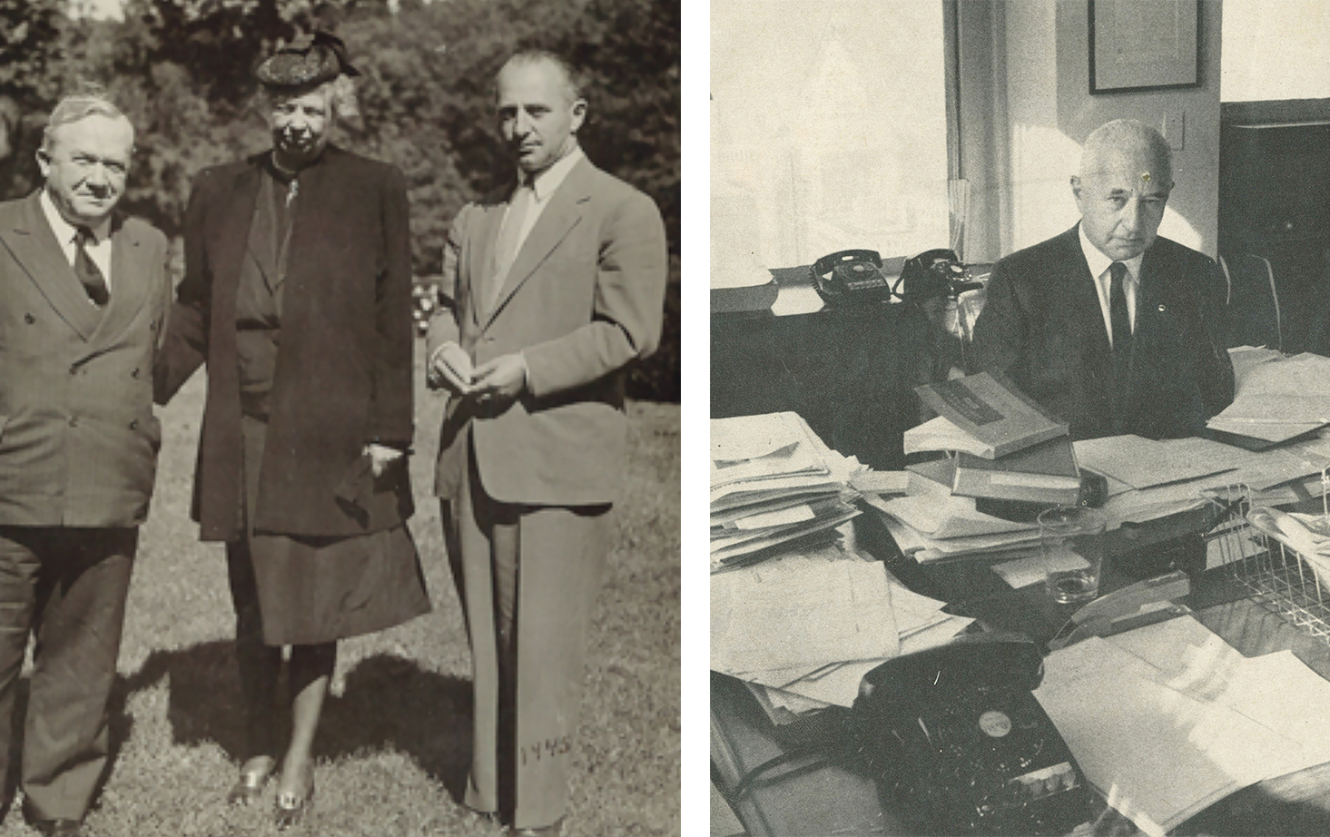Above: Abe in 1945 with Eleanor Roosevelt and Thomas F.J. Connolly.  At Right:  Photo of Abe by Duane Michaels for Fortune Magazine, February 1968 article.