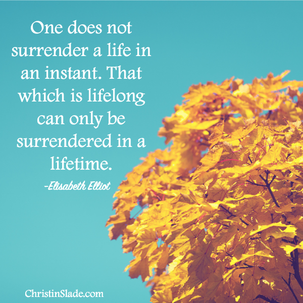 One does not surrender a life in an instant. That which is lifelong can only be surrendered in a lifetime. -Elisabeth Elliot