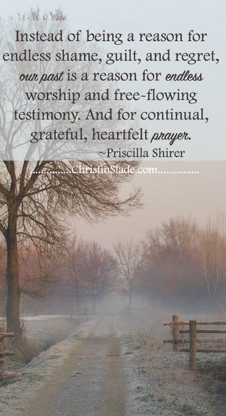 Instead of being a reason for endless shame, guild, and great, our past is a reason for endless worship and free-flowing testimony. And for continual, grateful, heartfelt prayer. -Priscilla Shirer
