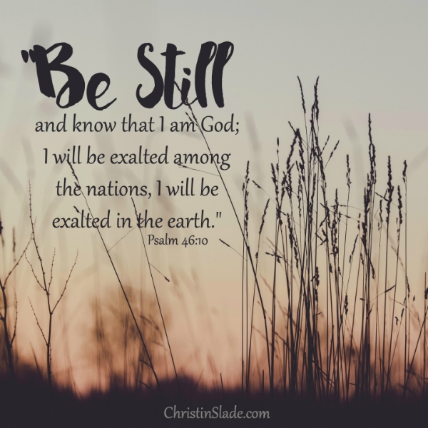 Be still and know that I am God; I will be exalted among the nations, I will be exalted in the earth. -Psalm 46:10