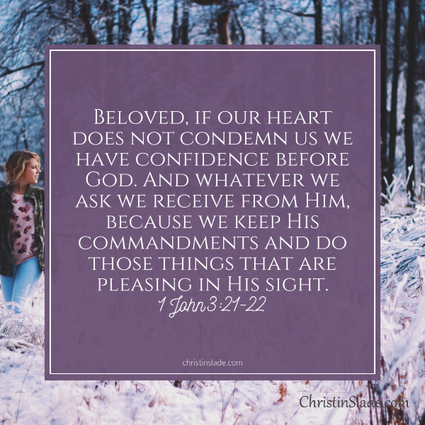 Beloved, if our heart does not condemn us we have confidence before God, and whatever we ask we receive from Him, because we keep His commandments and do those things that are pleasing in His sight. -1 John 3:21-22