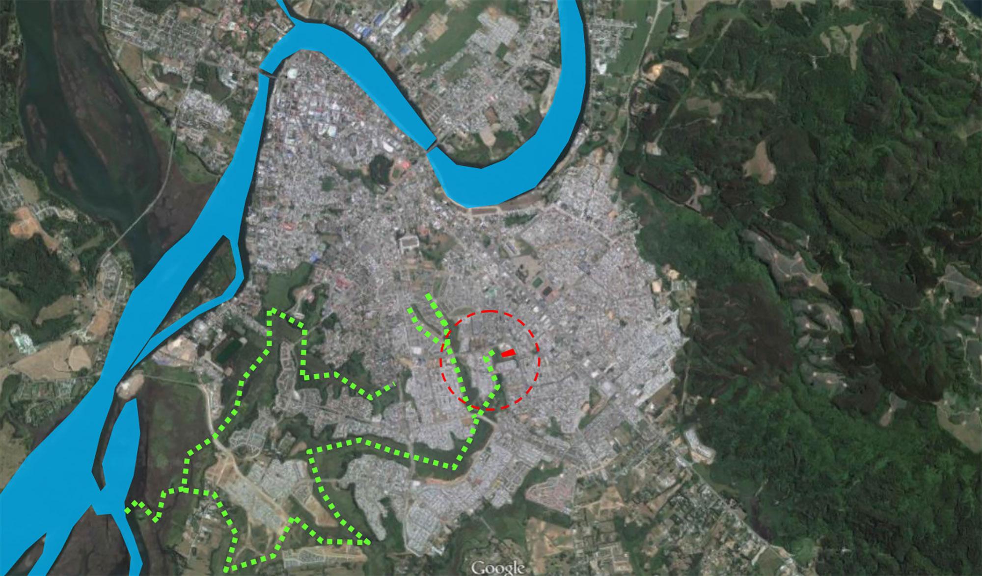 Fig. 02:Vista de la ciudad de Valdivia desde el aire | Terreno y afluentes verdes.