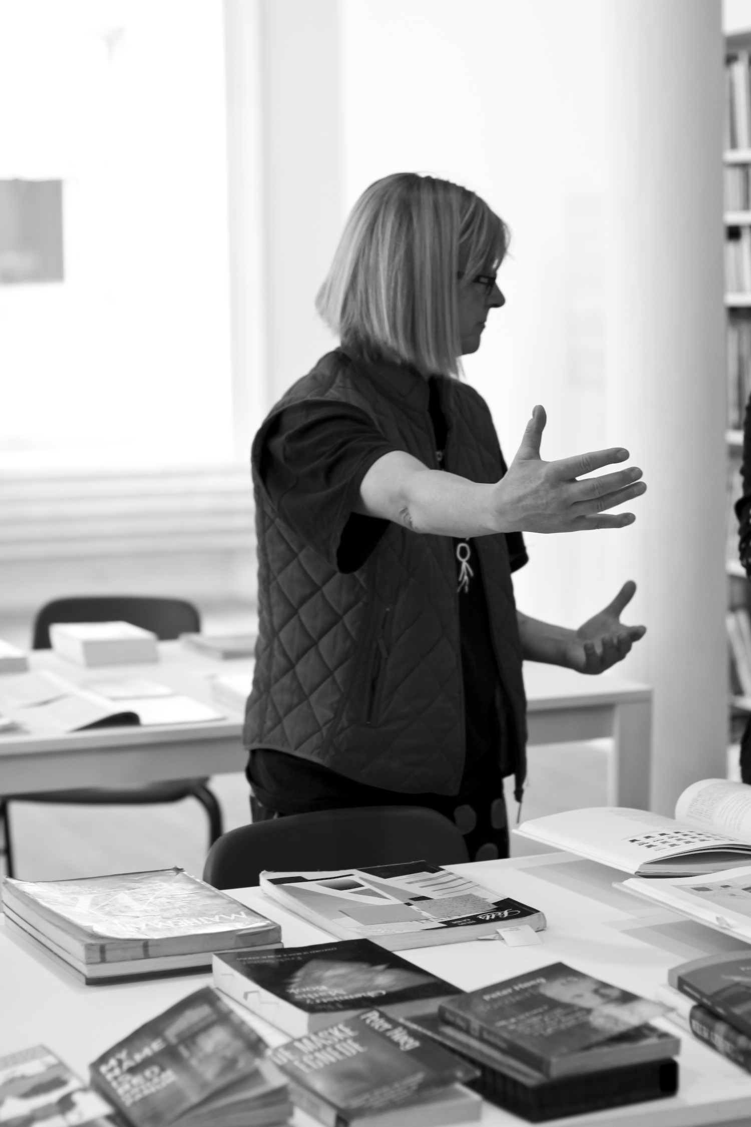 """Helen Dewitt discussing her exhibition, """"The Library of Helen Dewitt,"""" at Artists Space in Soho, NYC."""