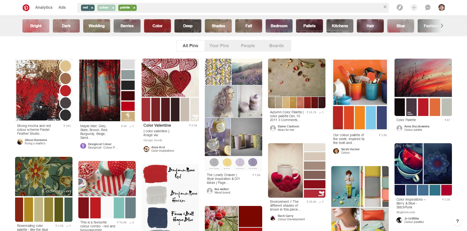 An example of red colour schemes on Pinterest