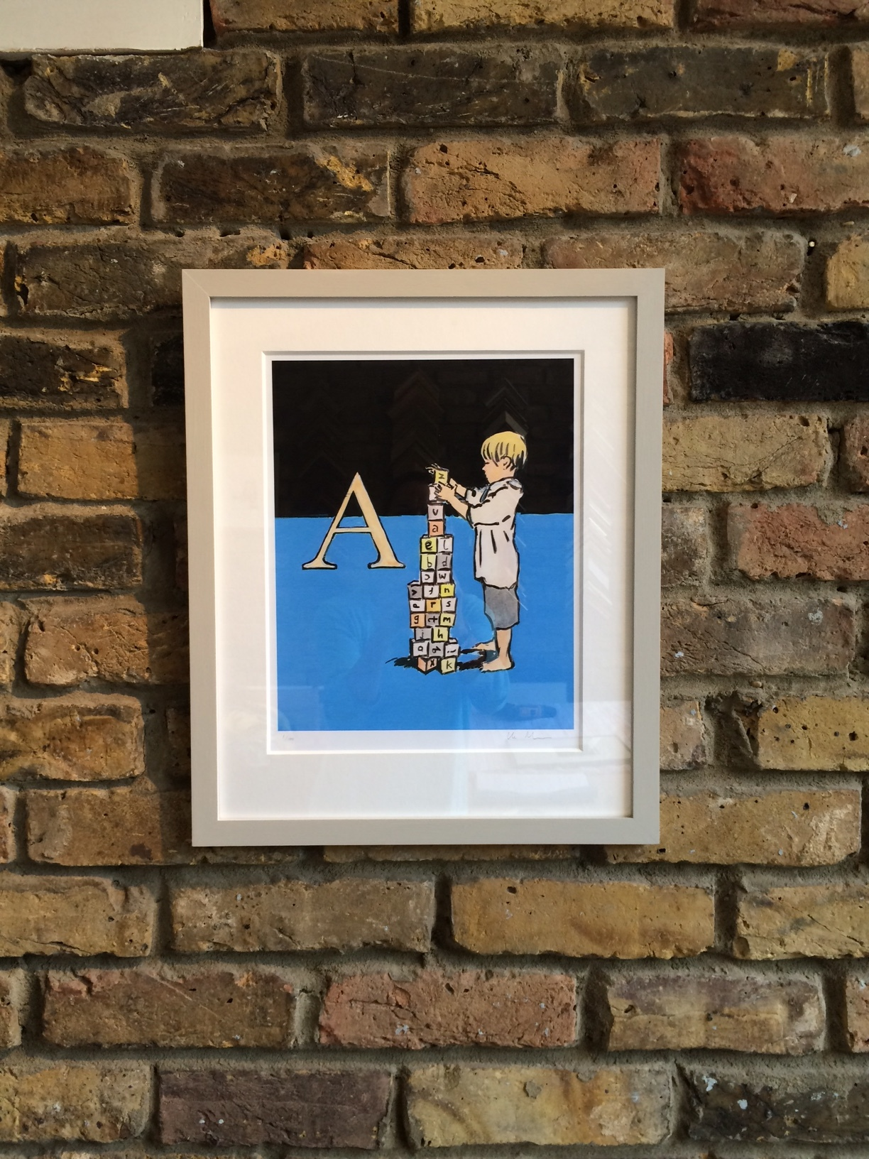 A is for…Deep mount, hand painted frame. Artist Luke Martineau