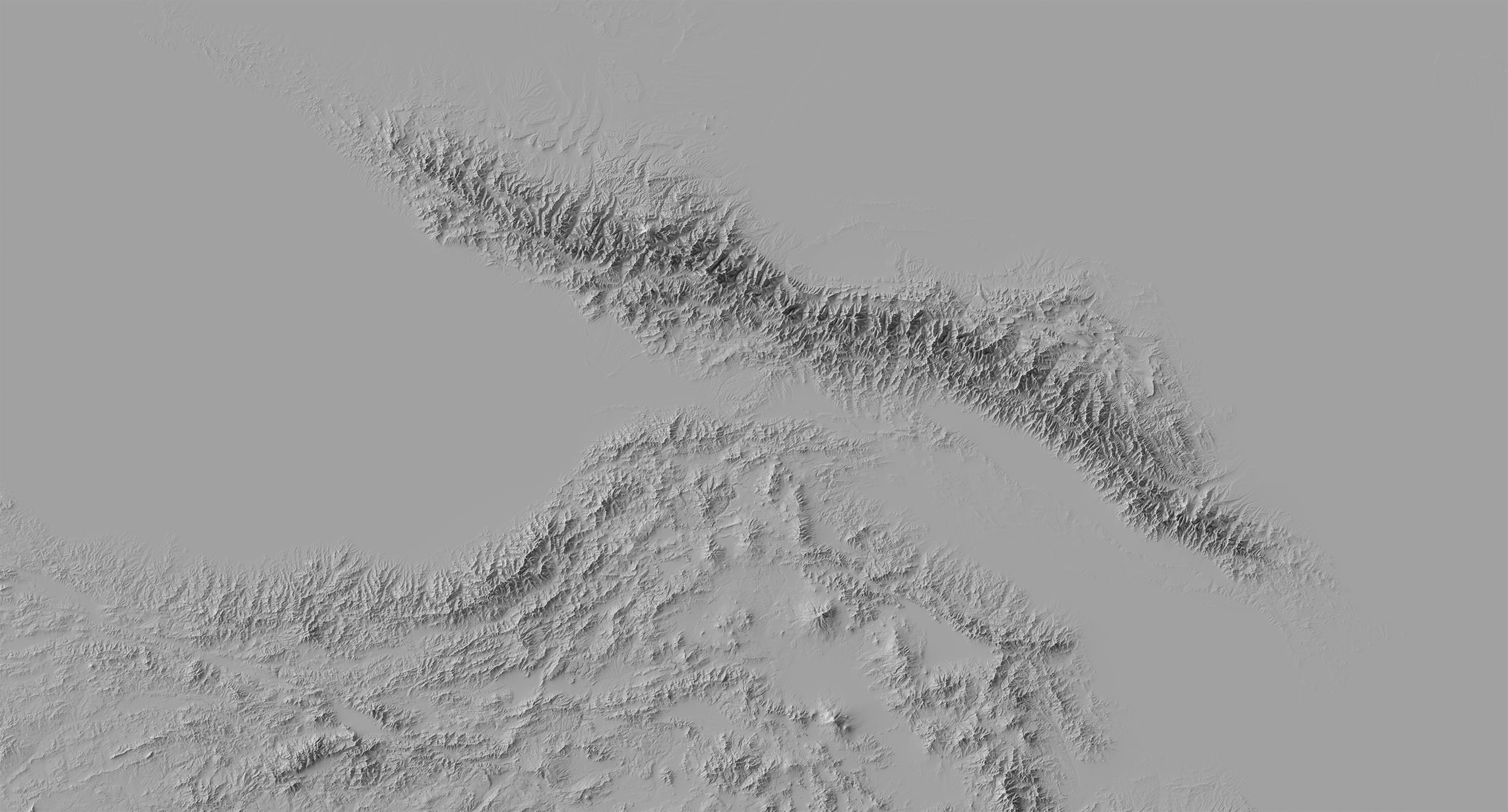 Blender's more realistic rendering of Caucasus topography shows a much clearer contrast between the higher Greater Caucasus and the lower Lesser Caucasus.