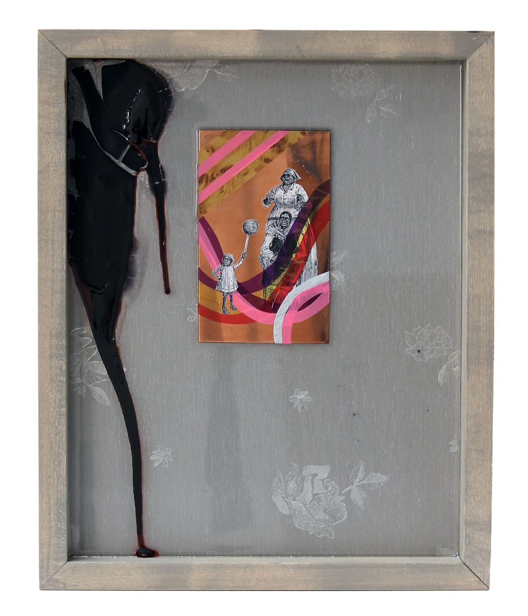 "Island Suite Part 6: Here Comes The Wonderful!   2016 16"" x 13"" Paper, copper plate, cellophane, vinyl and shoe polish in wood frame"