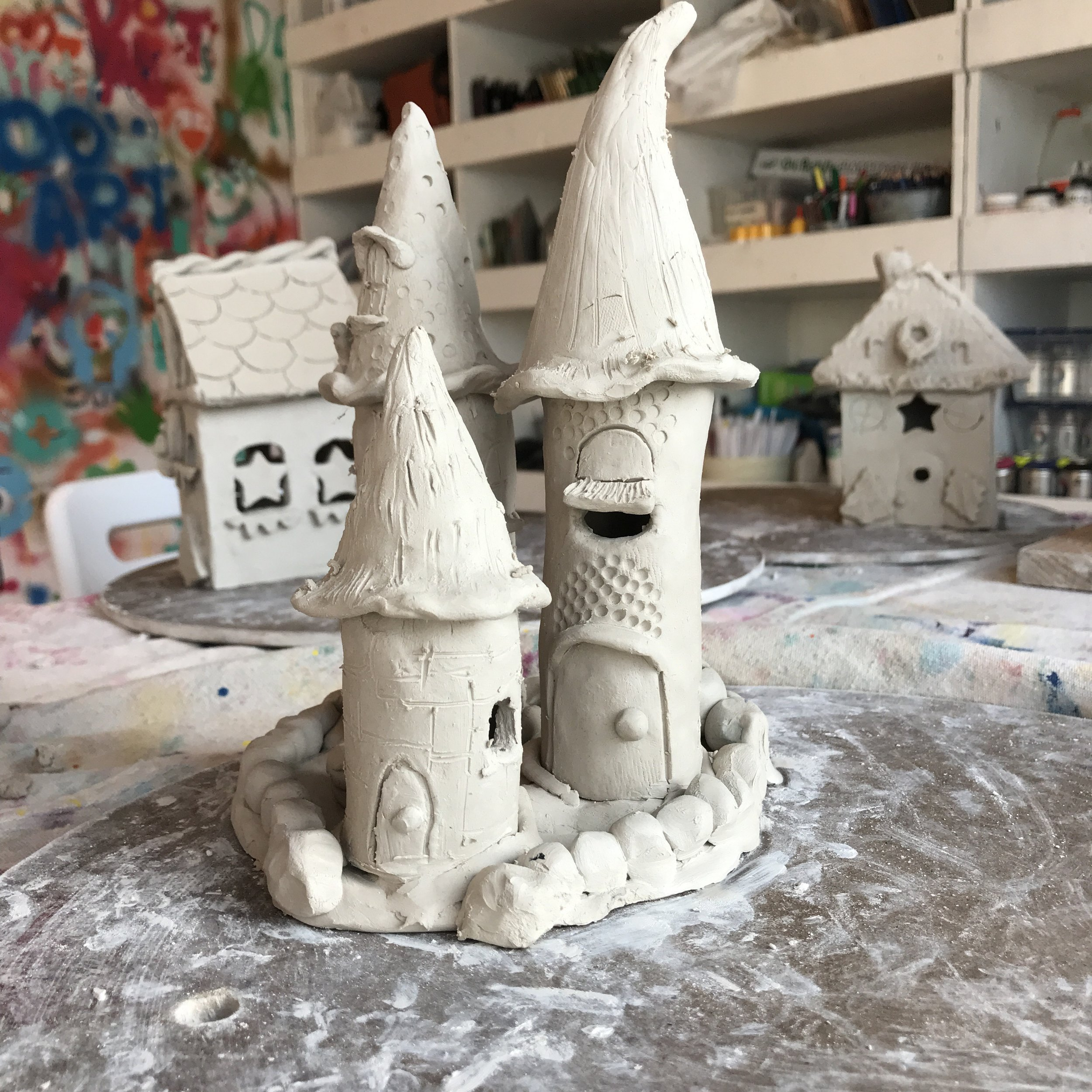 clay gingerbread house workshop