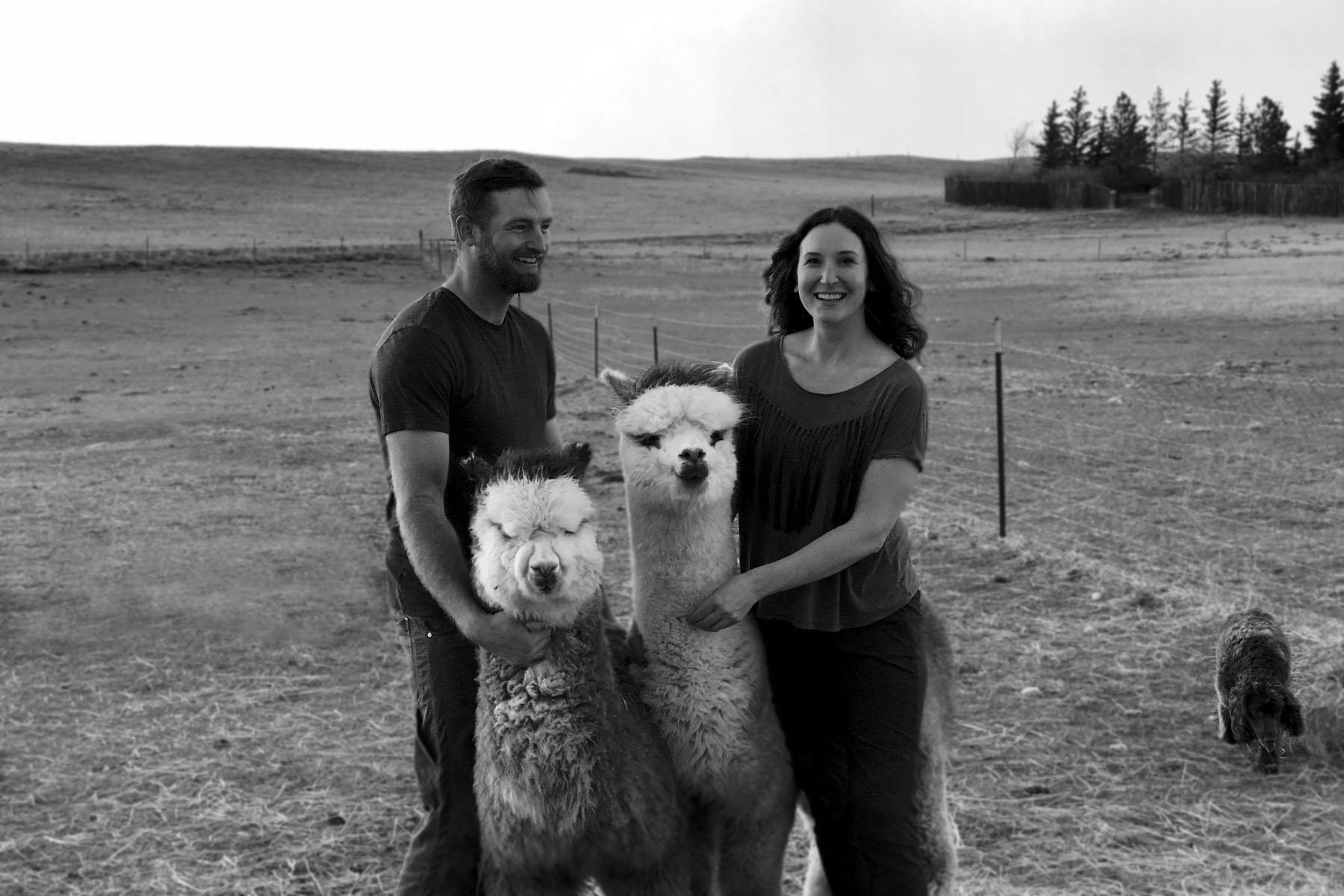 Dan and Rachelle with alpacas