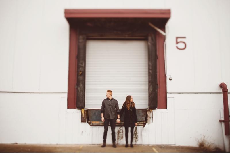 hipster loading dock engagement session