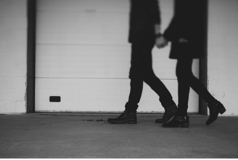 walking couple engagment