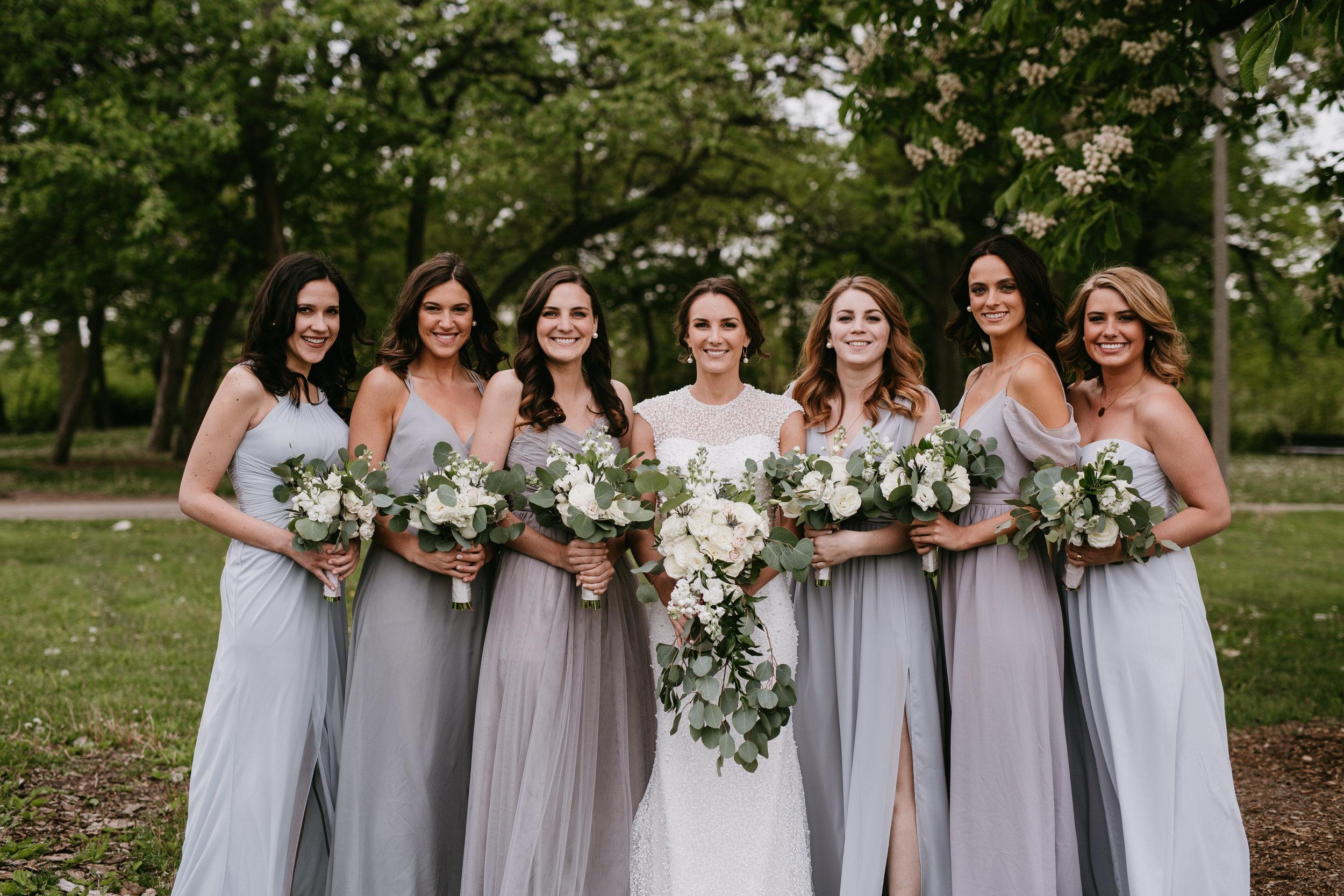 gray bridesmaid wedding