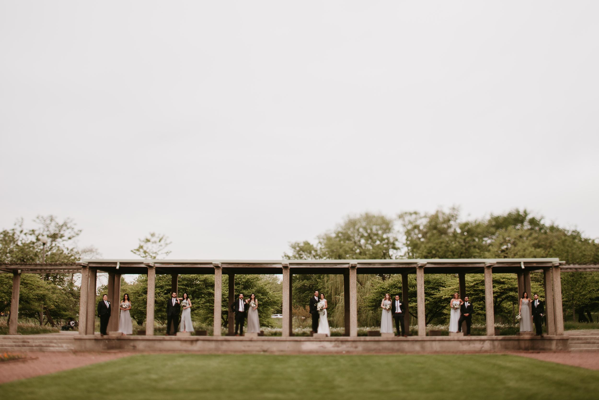 chicago park bridal party photos