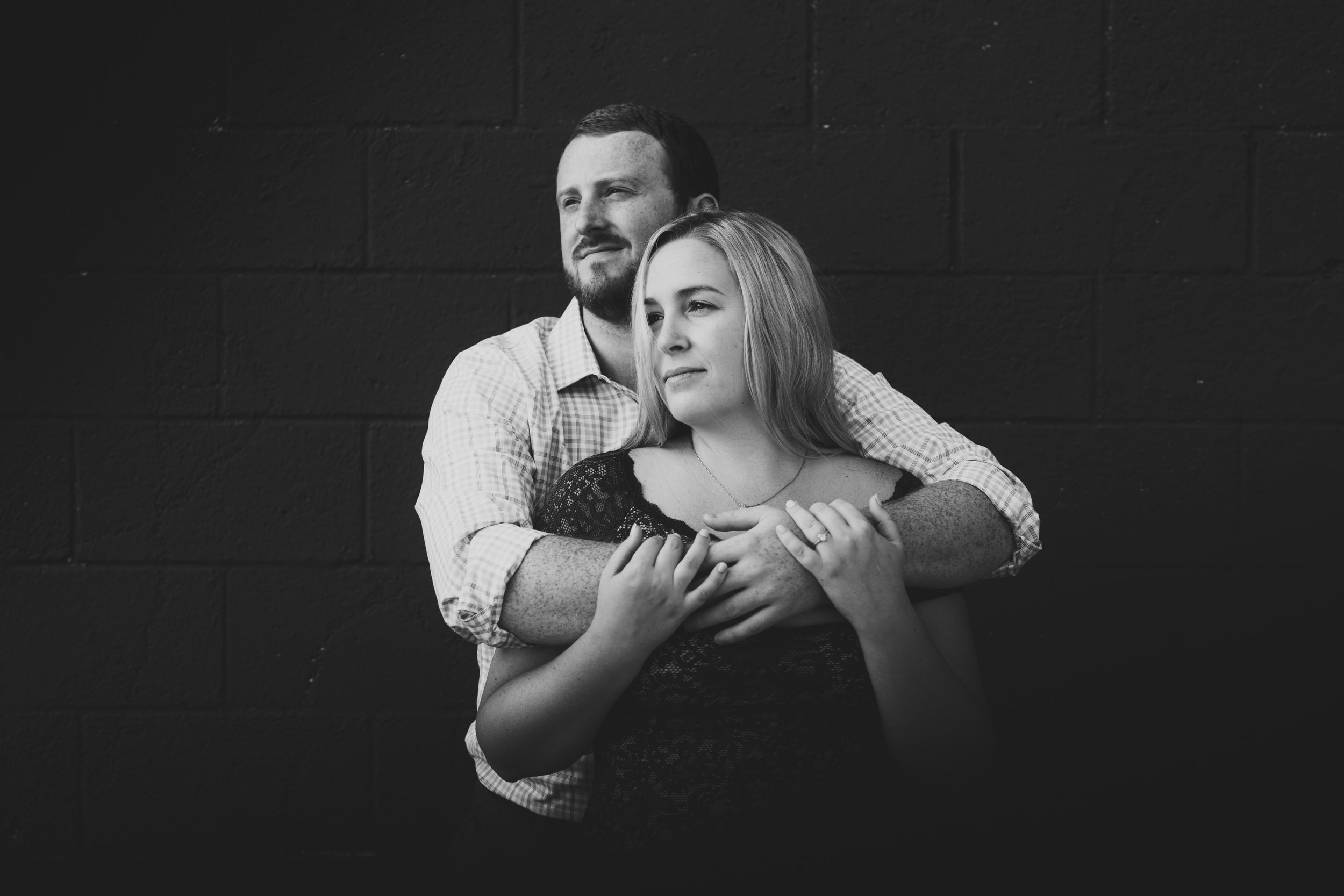 moody engagement shoot in the city