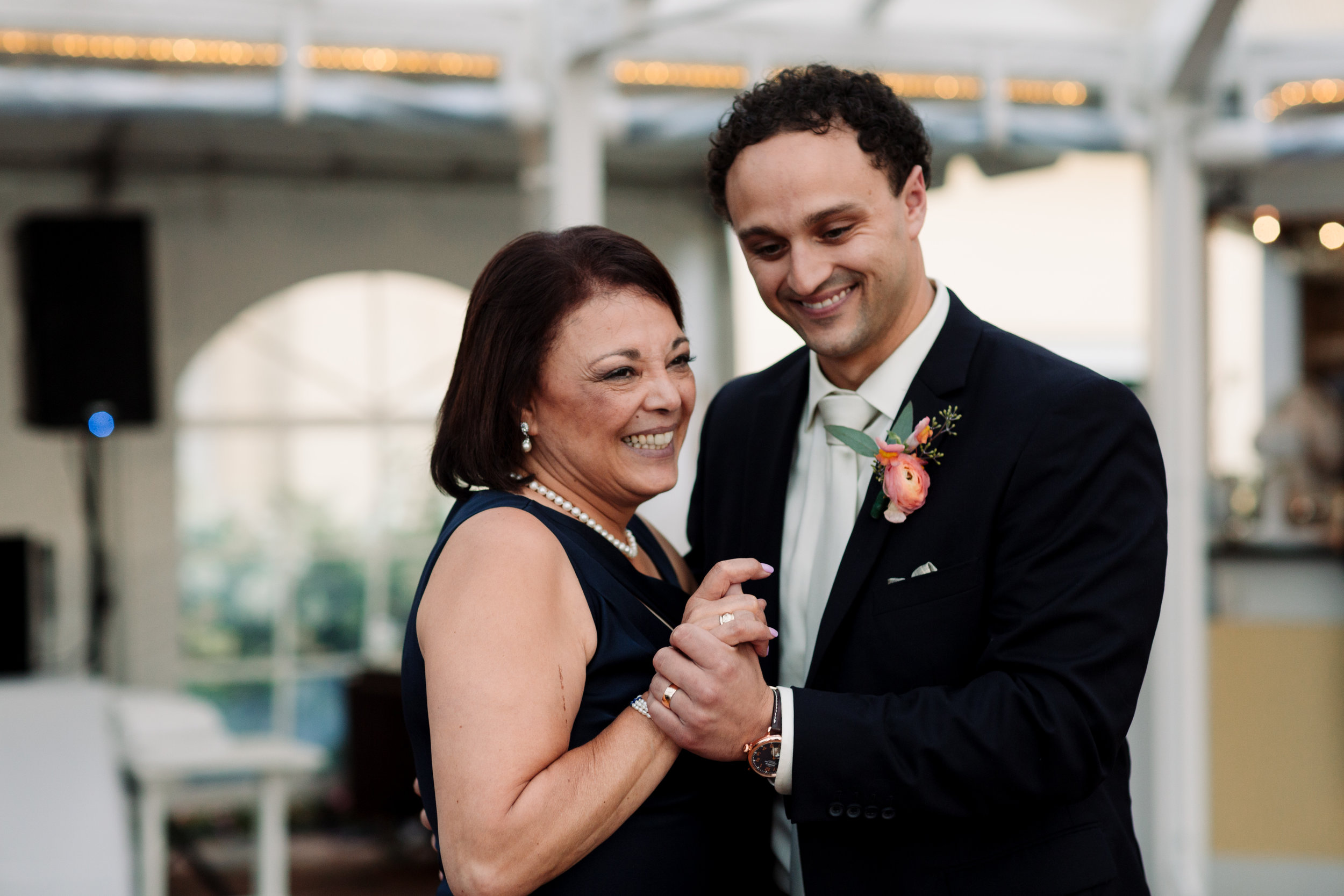 mother son first dance at stafford perry hotel reception