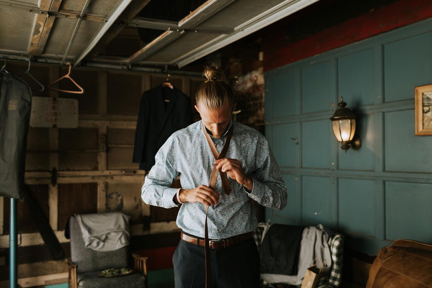 diy leather groom tie