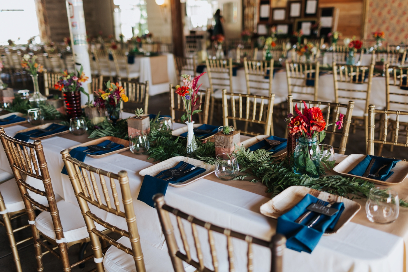 family style tables for wedding reception at sundance studios