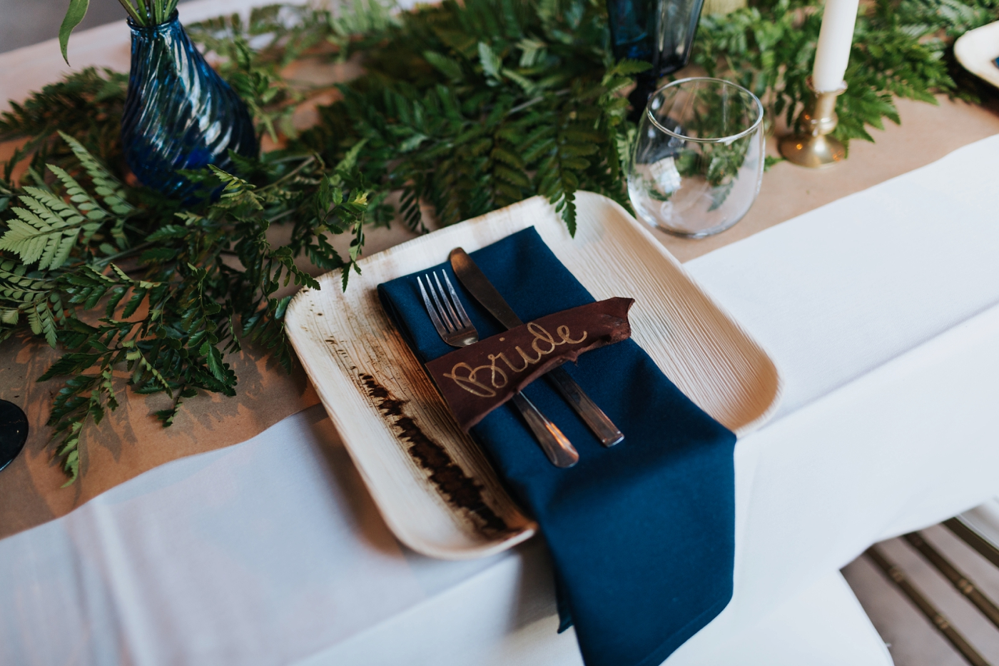 diy leather wedding place cards
