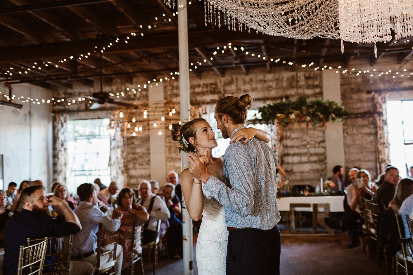 twinkle lights for first dance at wedding