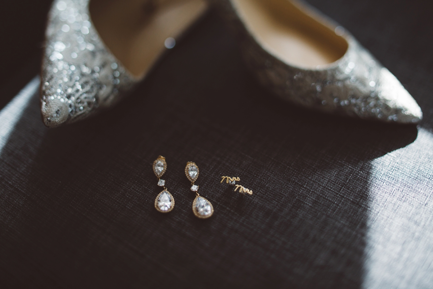 mr and mrs earring details for bride