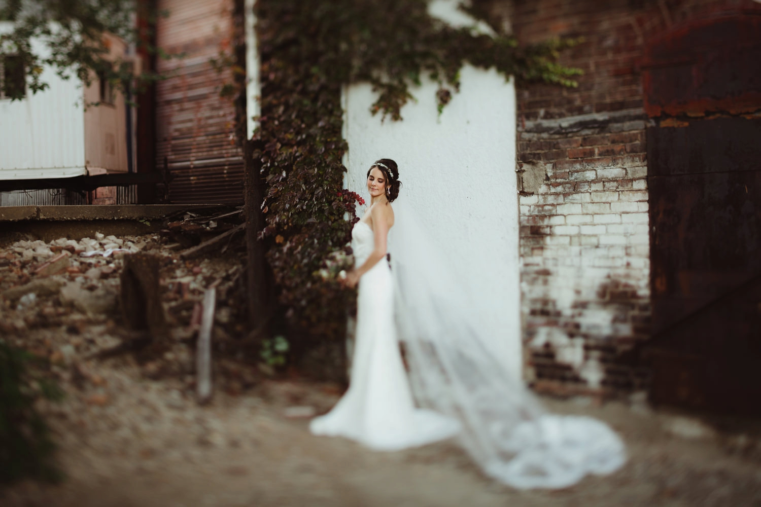 moody bridal portrait in the warehouse district