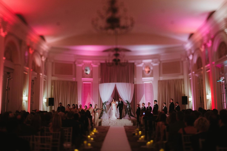 elegant and romantic wedding ceremony at the pere marquette hotel in peoria