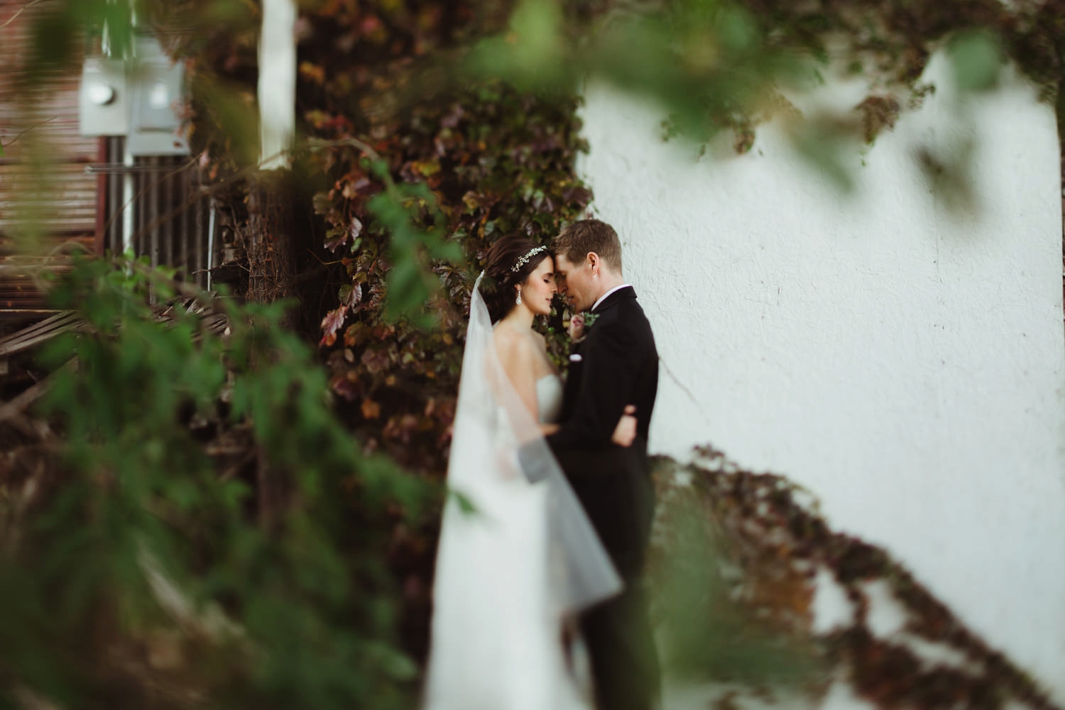 intimate moment for bride and groom after art district wedding