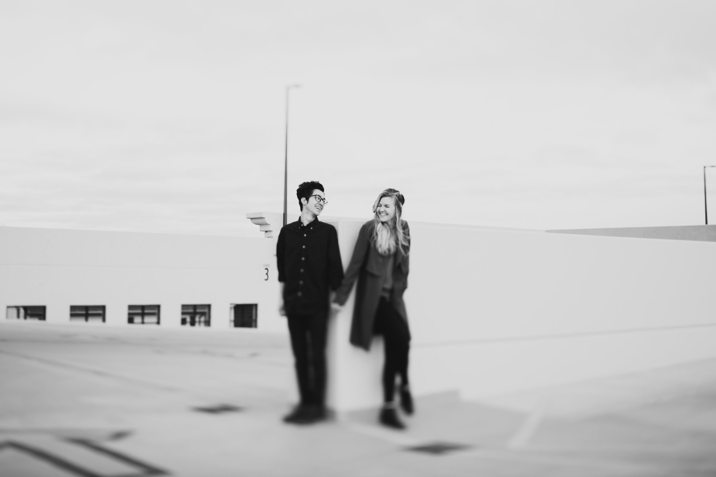 couple session in an industrial grand rapids parking structure