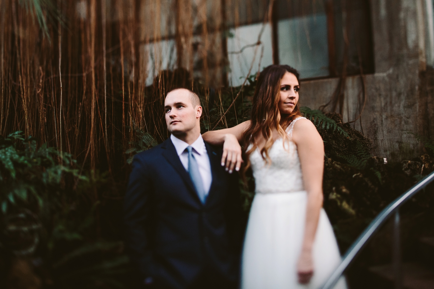 edgy and moody couple that eloped in a conservatory in minneapolis minnesota