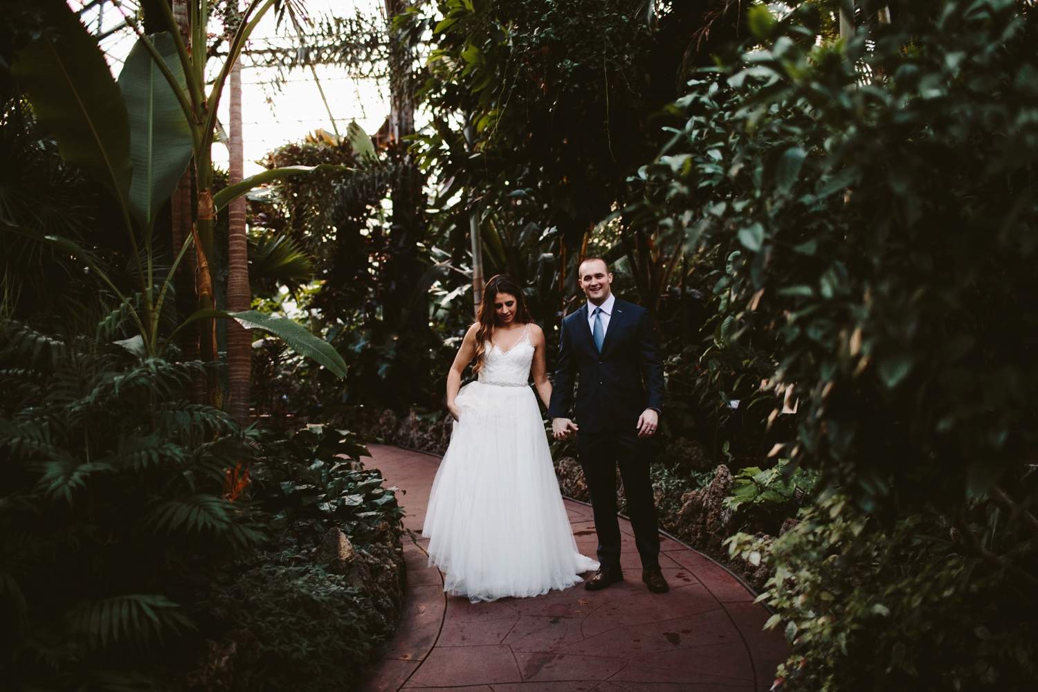 romantic and personal greenhouse elopement in downtown grand rapids