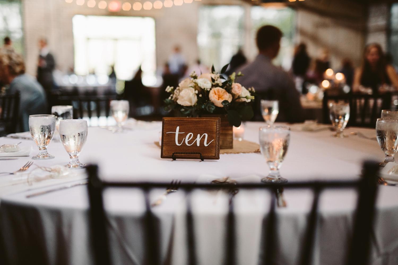 diy baker loft reception venue table numbers