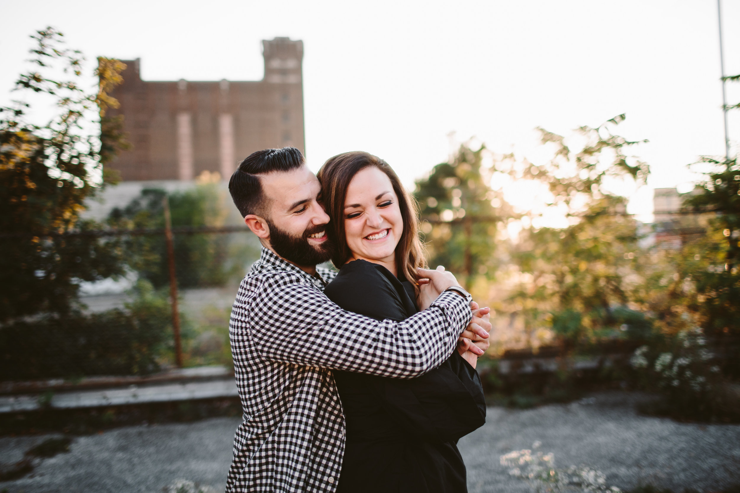 engagement session in abandoned detroit parking lot