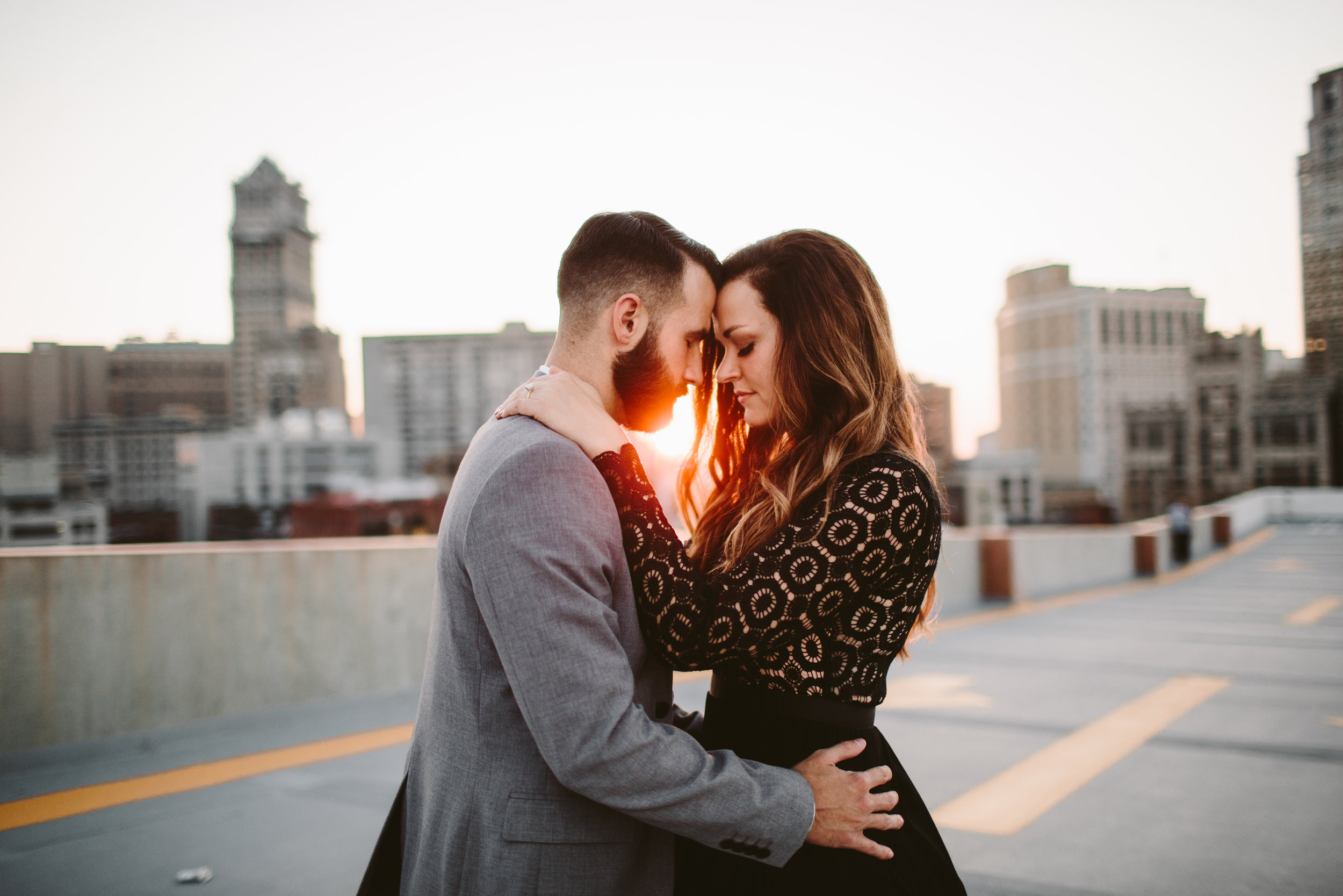 detroit z lot rooftop engagement session at sunset