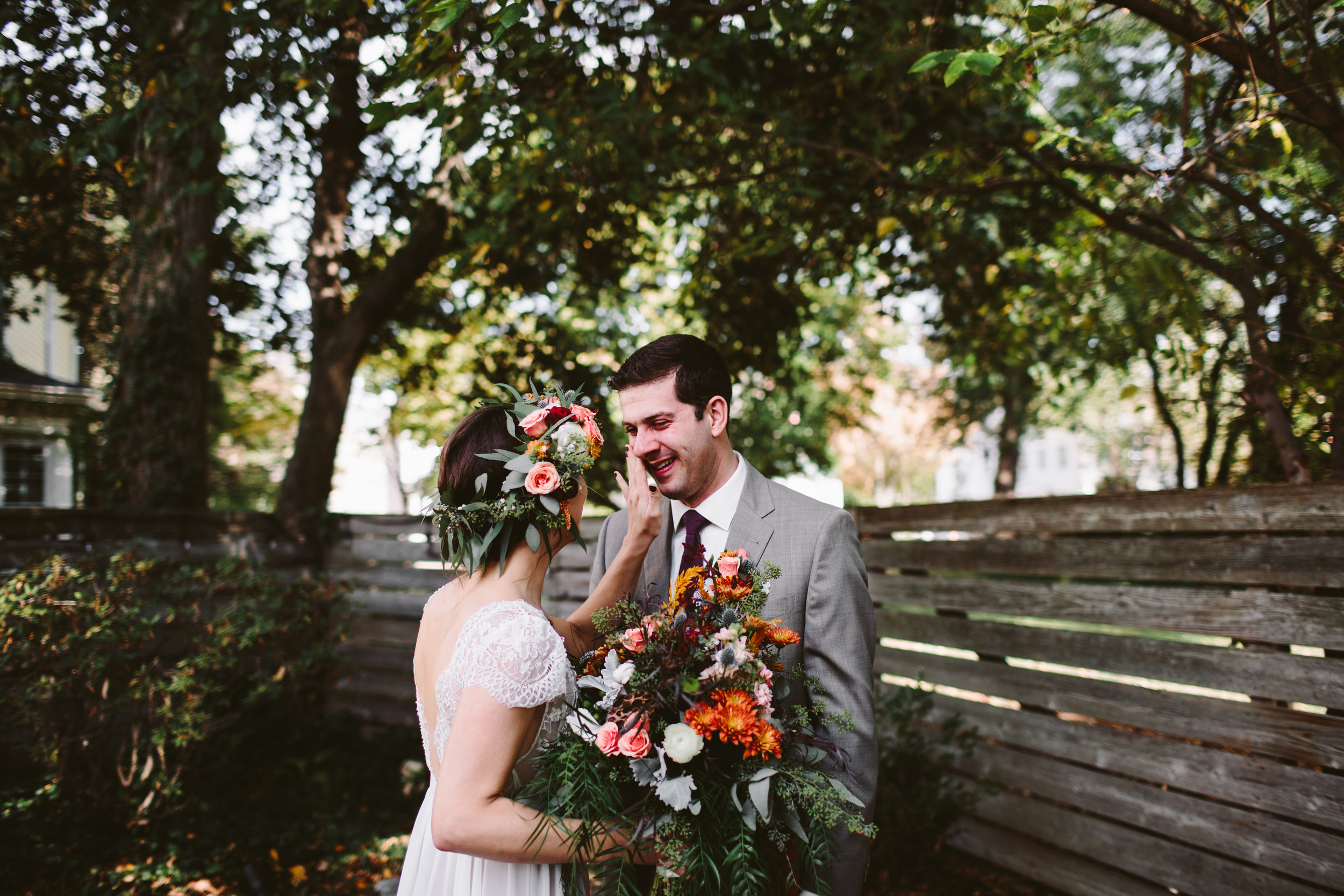 emotional first look at michigan outdoor boho wedding